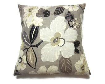 Decorative Pillow Cover Taupe Ivory Black Gold Bold Floral Same Fabric Front/Back Toss Throw Accent 18x18 inch   x