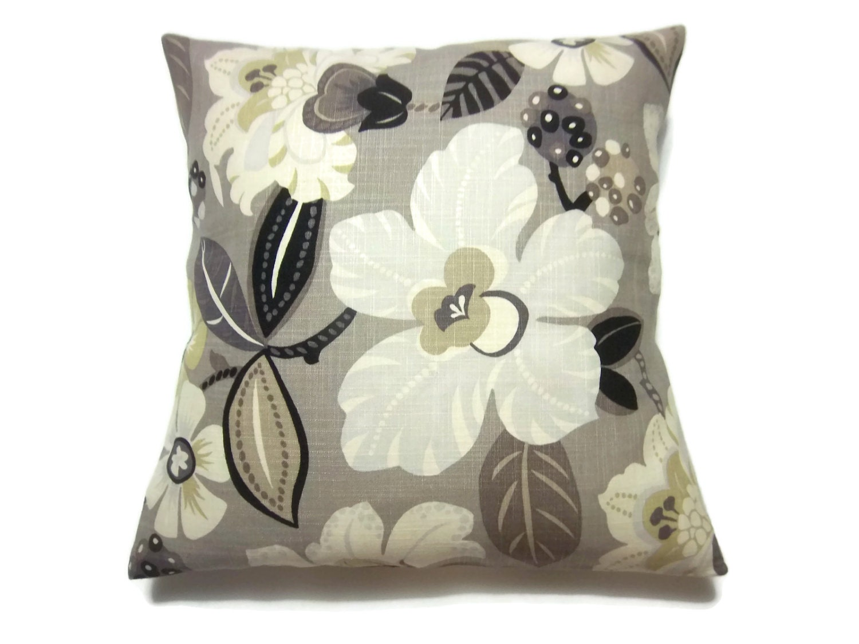 decorative pillow cover taupe ivory black gold bold floral. Black Bedroom Furniture Sets. Home Design Ideas