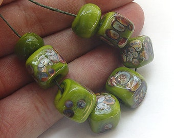 artisan lampwork, handmade  -  cubes in a spezial green with raku - by Calisto