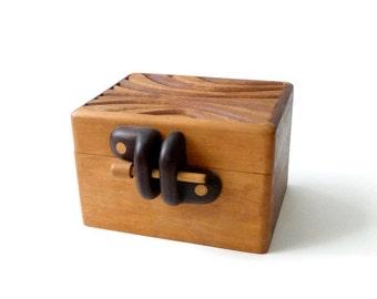 Modernist Carved Wood Box  Mid Century Modern California Design
