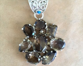 Smoky Quartz, Turquoise, and Sterling Silver Pendant (Item #P85)