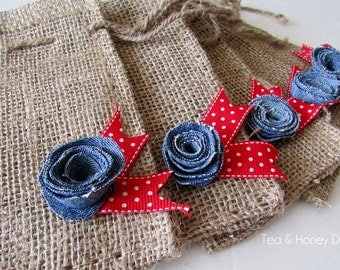 Burlap Favor Gift Bags with Denim Flowers, Americana, Summer, 4th of July Set/5