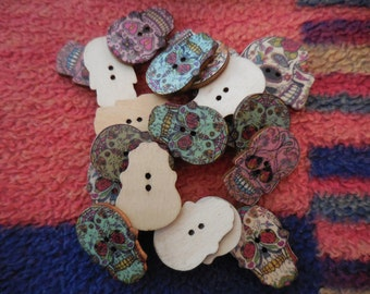 "25 count 1"" L x 3/4 wide SKULL Day Of The Dead Buttons DIY Doll Boutique Clothing Scrapbook handmade Cards"