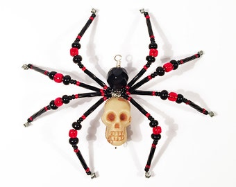 Grim - red and black glass beaded skull spider goth sun catcher - Halloween decoration - Christmas ornament