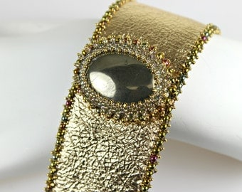 Bead Embroidery Pyrite with Gold Leather Embroidered Cuff
