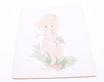 Vintage Completed Precious Moments Cross Stitch Panel SPRING Girl So Cute Sweet  ~ The Pink Room ~ 160924