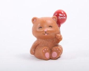 Russ Berrie Cute PVC Figure Bear Holding Balloon 1980s  ~ The Pink Room ~ 161108