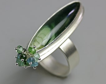 Imperial Jasper Sterling Silver Statement Ring with Blue Green Tourmalines