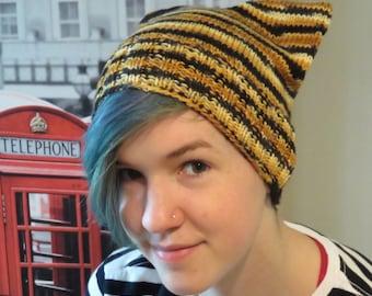 Destash -- Sample Hat -- Hand Painted Superwash Merino Worsted Yarn -- Bengal Tiger