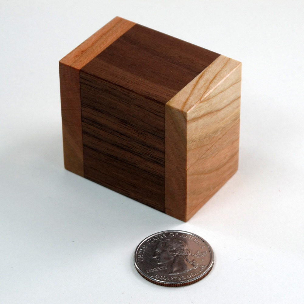 Walnut and cherry wooden ring box wedding ring box for Wooden ring box