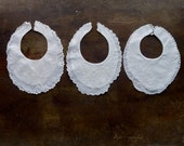 Vintage Baby Bib Collars White Embroidered