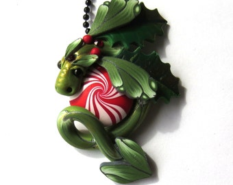 Holly and Mistletoe Dragon Necklace, Fairy Rider, Polymer Clay Dragon Pendant, Holiday Tree Ornament Dragon