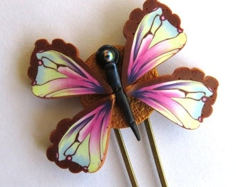 Pastel Colors Butterfly Hair Pin, Polymer Clay Butterfly, Hair Accessory