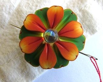 Orange Flower Needle Minder, Needle Nanny