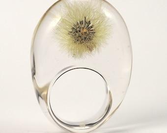 Clear Dandelion Resin Ring, Dandelion Jewelry, Resin Jewelry