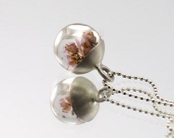 Heather Mini Pendant, Silver and Resin Jewellery, Romantic Necklace, Bridal Jewellery