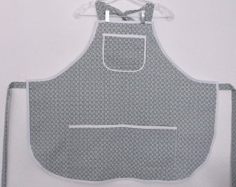 Bib Apron Green & White Gingham with Flowers #2004