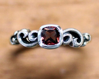Antique garnet ring, sterling silver garnet ring, january birthstone ring, cushion cut ring, Water dream, ready to ship size 7
