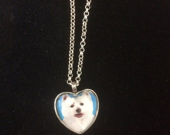 White Terrier Dog Small Heart-shaped or Round Silver Pendant Necklace