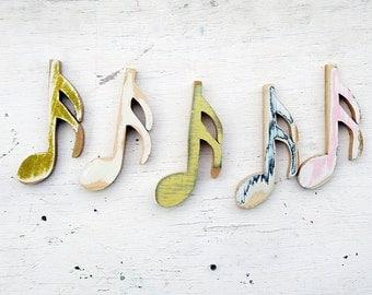 Music Notes Wall Art, 5 Sixteenth Notes, Musical Decor, Music Nursery Decor, Boho Decor, Musician Gift, Bohemian Decor, Music Teacher Gift