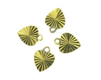 Tiny Vintage Shiny Brass Sparkly Heart Charms (12X) (V379)