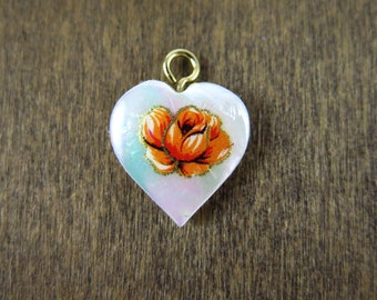 Vintage Mother of Pearl Heart Charms with Orange Flower Decal (4X) (NS536)