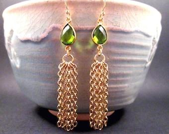 Tassel Earrings, Peridot Green Glass Bezels and Gold Chain Tassels, Long Dangle Earrings, FREE Shipping U.S.