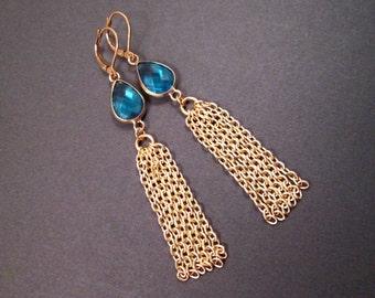 Tassel Earrings, Aqua Blue Glass Bezels and Gold Chain Tassels, Long Dangle Earrings, FREE Shipping U.S.