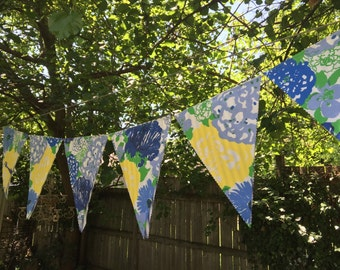 Genuine Lilly Pulitzer Fabric Pennants/Bunting with Classic Ticking Stripe Reverse