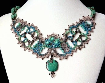 Lace necklace regal boho chic hand dyed handmade tatting with turquoise stone Swarovski pearls brass beads silk ribbon and chain
