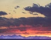 """landscape, landscape photograph, clouds, large art, large wall art, colorful, mountains, canvas art, large canvas art - """"Beartooths Sunset"""""""