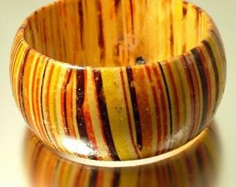 Large Vintage/ estate retro 1980s/ 90s chunky yellow, orange, striped paper mache, Papier-mâché bangle - jewellery jewelry