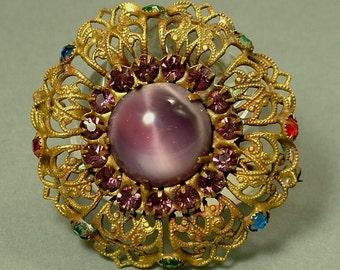 Vintage Art Deco 1930s/ 1940s Czech style, filigree and purple paste/ glass brooch / pin - jewelry jewellery