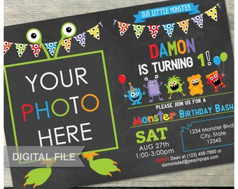 "Birthday Little Monster 1st Birthday Bash Party Chalkboard Invitation - Photo - Digital Invite - 5"" x 7"" - DIGITAL Printable"