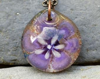Glass Flower Pendant Borosilicate Boro Lampwork, Handmade Glass Jewelry - Violet