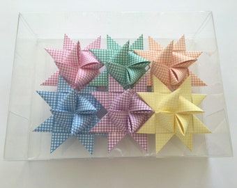 German Paper Origami Star Ornament Sculpture (3 inch, Gingham Pastel)