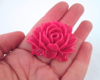 2 Magenta Cabbage Rose Cabochons  45x34mm
