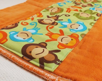 Monkey Cloth Diaper / Burp Cloth - Dyed Prefold - Embellished Prefold - Monkey Burp Cloth - Burp Rag - Baby Shower Gift - Baby Jungle Theme