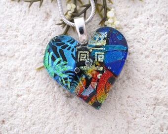 Heart Necklace, Fused Glass Jewelry,Dichroic Jewelry, Silver  Necklace, Dichroic Pendant, Dichroic Pendant, Blue Red Rainbow,  102616p100