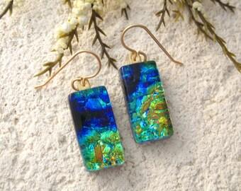 Blue Green Gold Earrings, Dichroic Glass Earrings, Fused Glass Jewelry, Dichroic Jewelry, Dangle Drop Earrings,14KT Gold Filled,  010916e105
