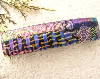Medium Barrette, OOAK, Gold Pink Purple, Dichroic Barrette, Hair Barrette, French Barrette. Fused Glass Barrette, Hair Clip,042016ba101