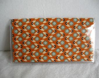 Floral Checkbook Cover -Orange Floral Cash Holder - Works with Duplicate Checks - Flower Checkbook Holder