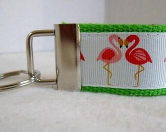 Mini Key Fob Flamingo - LIME Green Key Chain - Flamingos Small Keychain - Flamingo Zipper Pull - Flamingo Key Ring