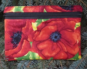 Poppies large clutch, optional wristlet or shoulder strap, diabetic supply case, Watercolor Poppies The Morning Glory