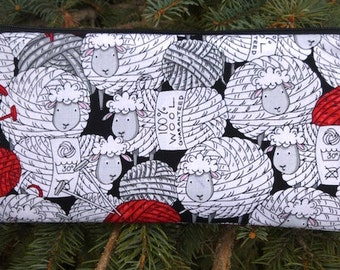 "Sheep knitting needle pouch, crochet hook pouch , 8"" knitting needle case, Skeins of Sheep, The Deep Sleek"