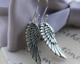 Sterling Guardian Angel wing earrings