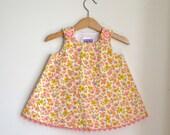 Pink & Yellow Vintage Floral Newborn, Baby, Toddler Girls Dress  - Children's Sweet Handmade Dress - Sizes Newborn to 4T