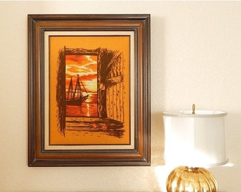 SALE Vintage 70s Large Ship at Sunset Retro Crewel Embroidery - Wood Framed Orange and Brown Nautical Crewelwork