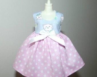 Cute kitty mini dress for Blythe, Licca doll