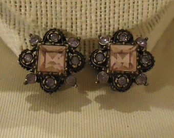Clip On Earrings Purple Lavender Light Pastel Pink Glass Crystals Rhinestones Antique Gold Metal Copper Like 1980's Vintage Costume Jewelry